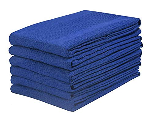 Kitchen Towel In 100% Cotton Waffle Weave -Navy -16x28 with Quick Dry,Tea Towels,Bar Towels,Absorbent Towels,Cleaning Towels,Kitchen Dishes with Machine Washable Set of 6 Pieces