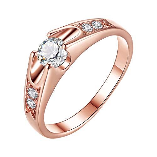 JUSTSELL ▾ Ring Damen, Verlobungsring Silber Roségold Ring Paar Ring Valentinstag Ring Hochzeitsringe Rund Weiß Kristall Einfacher Ring Freundin Geburtstagsgeschenk