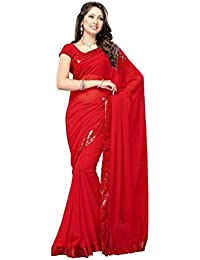 Muskaan Sarees Women's Georgette Sequin Bordered Saree With Blouse Piece - Latest Saree Collection 15_Red_Free...