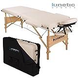 Massageliege Holz 2 Zonen Massagetisch Massagebank höhenverstellbar klappbar Creme inkl. Tragetasch