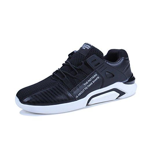 tqgold Herren Laufschuhe Atmungsaktiv Gym Turnschuhe Freizeit Schnürer Sportschuhe Sneaker Sommer Schuhe Classic Tennisschuhe(41 EU,Schwarz)