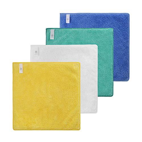 BONTHEE 4-farbig sortierte Packung Microfaser Tücher Waschlappen 30x30 mit Aufhängeschlaufe