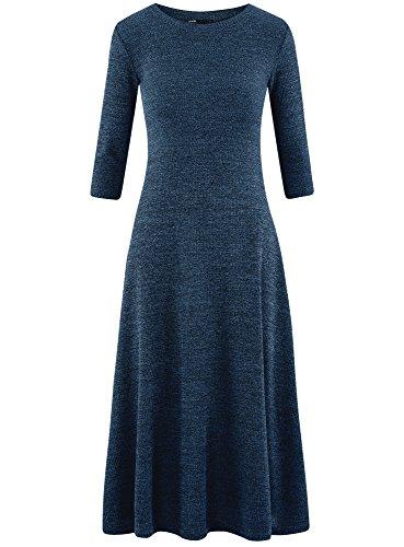 oodji Ultra Damen Mittellanges Kleid mit Ausgestelltem Saum Blau (7529M)