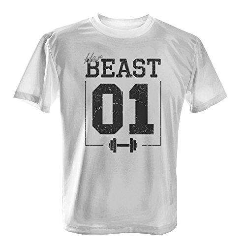 Fashionalarm Herren T-Shirt - Her Beast 01 im Vintage Look | Fun Shirt als Valentinstag & Jahrestag Geschenk Idee für verliebte Paare Weiß