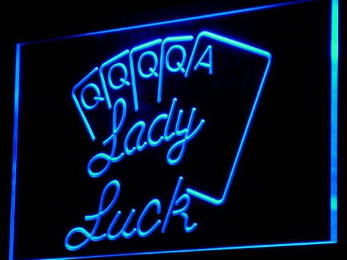 Enseigne Lumineuse i830-b Lady Luck Poker Game Casino Neon Light Sign