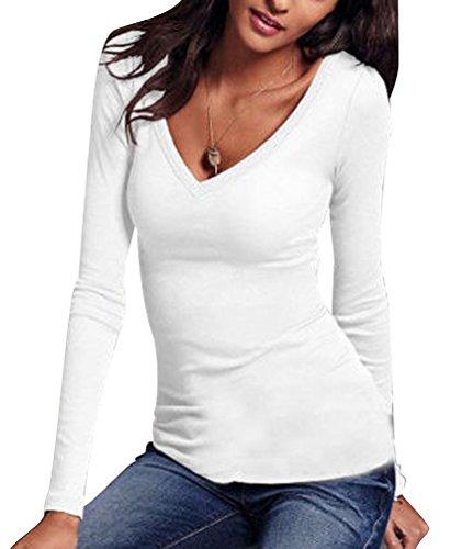 T Shirt Manche Longue Femme Tee Shirt Manches Longues Col V Imprimé Chemise Top Haut T-shirt Blouse Tops Sweat Pull Chemisier Casual Haults Slim Fit Sous-vêtements Automne Hiver Blanc M ISSHE