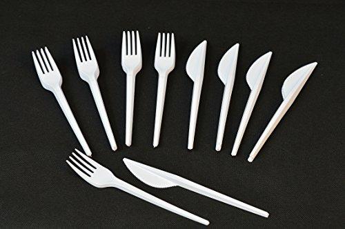 Unbekannt Set aus je 400 Plastik Messer + Gabeln Einweg Besteck Weiß Party Feier Fete Weiss...