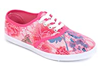 Ladies & Girls Flat & Slim Trainers - PLIMSOLLS & PUMPS Slip On or Lace Up Shoes (6 UK, Rose)