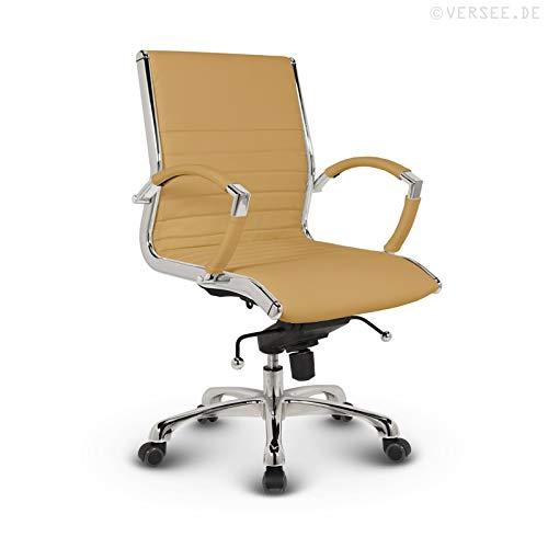 VERSEE Design Bürostuhl Montreal - Echt-Leder - ocker - Konferenzstuhl, Meetingstuhl, Drehstuhl, Bürodrehstuhl, Schreibtischstuhl, Ergonomisch, niedrige Rückenlehne, mit Armlehnen, auf Rollen, mit Polsterung, Höhenverstellbar, Wippfunktion, Designklassiker, hochwertige Verarbeitung, massives Metall-gestell, Chrom Büro Sessel, Stuhl, 150 kg belastbarkeit
