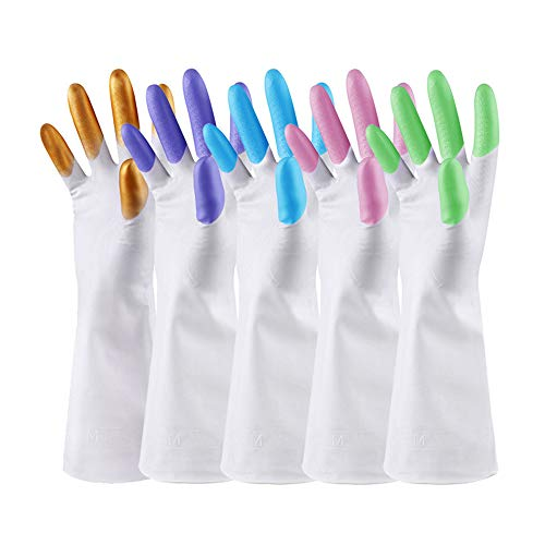 Haushaltsgeschirrspülmittel, wiederverwendbare wasserdichte Gummihandschuhe Wäsche Geschirrspülmittelreinigung, dünner Weithals Langarm-Gartenhandschuhe für Frauen und Männer (5 Paare)