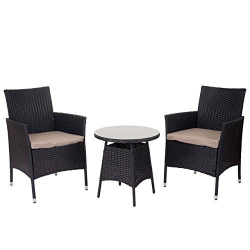 Salottino polyrattan hwc-a82 tavolino+2x poltrone antracite cuscini beige