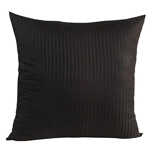 Damast Kissenbezug (Homescapes Kissenbezug 80 x 80 cm schwarz - 100% Reine ägyptische Baumwolle Fadendichte 330 mit Satin-Streifen - Kissenhülle mit Reißverschluss)