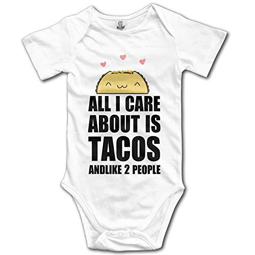 Care About is Tacos Boy's & Girl's Short Sleeve Romper Bodysuit Outfits White