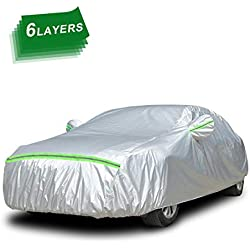 Car Cover Waterproof Breathable Heavy Duty Rain Snow Dust Sun UV All Weather Waterproof Protection Full Covers with Door Zipper Cotton Lining for Automobiles Indoor Outdoor (533 * 178 * 120cm)