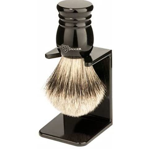 Edwin Jagger Super Badger Shaving Brush with Drip Stand - Small, Imitation Ebony