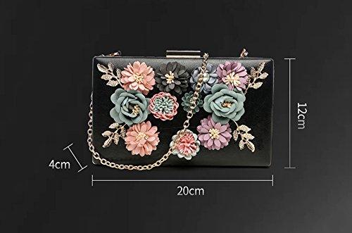 Koreanische Version des Blumenbeutels, Beutel, Handtasche, Bankettpaket, Handtaschen, Kettenschrägrucksack, kleine quadratische Tasche, Kettenhandtasche ( Farbe : Pink ) Weiß
