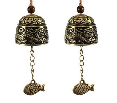 DMtse Lot de 2 carillons Porte-Bonheur Feng Shui Vintage Dragon Bell Fish pour protéger la Paix - Home Jardin Voiture intérieur à Suspendre Charm Carillon Porte-Bonheur bénédiction