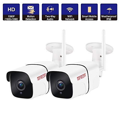 Tonton 2 Pack 1080P Überwachungskamera WLAN Aussen, WLAN IP Kamera Outdoor WiFi, 2MP HD, Zwei-Weg Audio, Nachtsicht, Bewegungserkennung, PC, Smartphone,Tablet, CMS Fernzugriff Speicherung bis 128GB