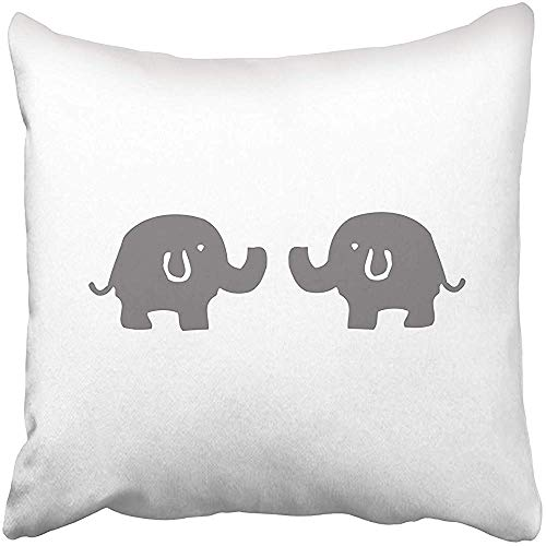 Funda de cojín Gris Blanco Elefante Cojines Funda para sofá Ropa de Cama para el hogar Almohada Decorativa Ideas de Regalo Funda de Almohada para el hogar Fundas de Almohada con Cremallera 45X45cm