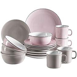Mäser 931543 Maila - Vajilla para 4 personas (16 piezas), diseño retro, color rosa y gris