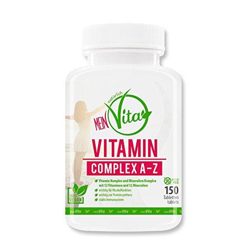 MeinVita Vitamin Complex A-Z - mit Multivitamin + Mineral - hochdosiert - 100% vegane Tabletten, 150 Stück (90 g) (Tabletten 100 Multivitamin)