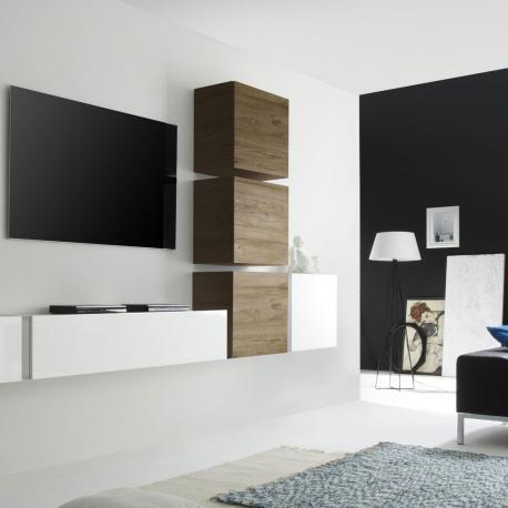 Pensile a cubo moderni vari colori parete attrezzata apertura basistas (rovere miele)
