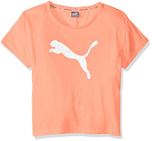 Peach Mädchen-shirt (PUMA Kinder Softsport Graphic Layer Tee T-Shirt, Nrgy Peach, 128)