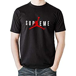 T-Shirt Supreme Jordan Bianca-Nera (Replica) da 9/11 Anni a XXL (XL, Nero)