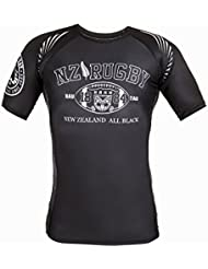 Dirty Ray Rugby New Zealand All Black t-shirt de compression rashguard homme RG9