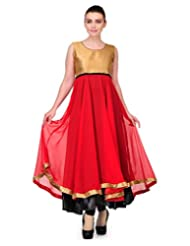 Cenizas Sleeveless Solid Women's Casual Red Anarkali Kurtas (6022RED)