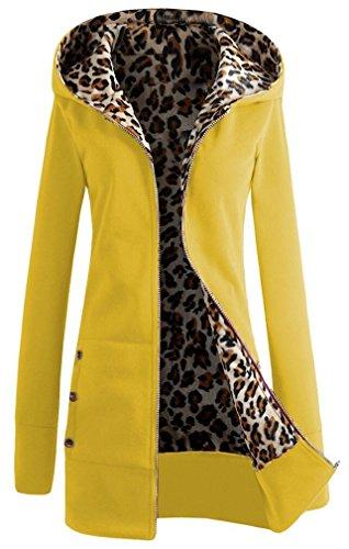 Minetom Damen Kapuzenpullover Herbst Winter Jacke Hoodie Pullover Sweatshirt Leopard Zip Verdicken ( Gelb DE 34 ) (Leopard Pullover Hoodie)