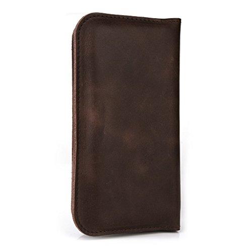 Étui portefeuille en cuir véritable pour protection d'écran Ctrl V5/Pioneer P4pour noir - noir Marron - marron