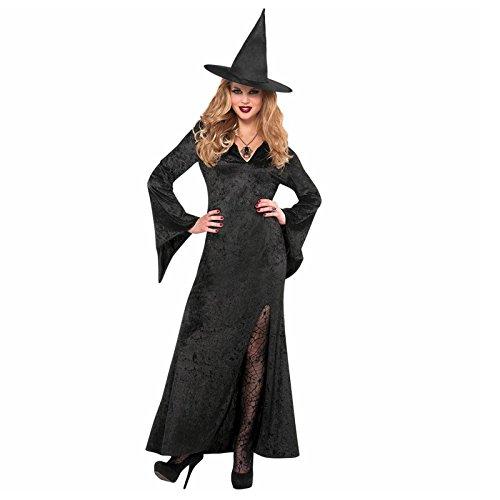 Ladies-Adults-Black-Long-Velvet-Basic-Witch-Professor-Fancy-Dress-Costume