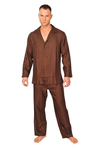 brioni-schlafanzug-herren-dunkelbraun-seide-einfarbig
