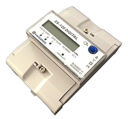 SWISSNOX SX-120 DREHSTROMZÄHLER LOW CONSUMPTION - Geringer Verbrauch! Hutschiene Wattmeter 3 Phasen STROMZÄHLER HUTSCHIENE WATTMETER NEU! Drehstromzähler Wattmeter Stromzähler Hutschiene Energiezähler Schaltkasten kWh Wattzähler