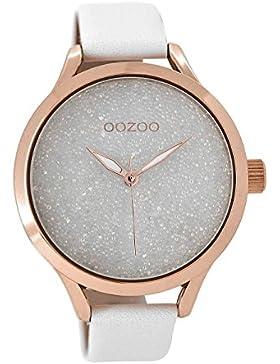 Oozoo Damenuhr mit Lederarmband Weiß-Rosé C8900