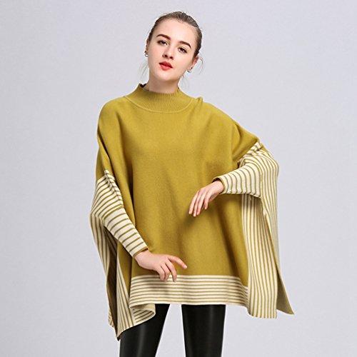 YouPue Femme Poncho Avec Rayé Manches Chauve Souris Pullover en Tricot Lâche Châle Cloak Jaune