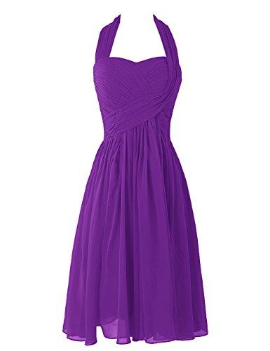 Dresstells Sweetheart Damen Chiffon Homecoming Kleider Kurz Brautjungfernkleider Purpur