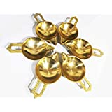 Crazy Sutra Brass Diwali Deepak (Diya Oil Lamp) For Puja Aarti Home Decor (Set Of 6)