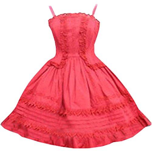 partiss femmes robe manches bouffantes gothique lolita avec Big Bow Noeud - Red Straps