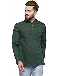 RG DESIGNERS Dark Green Cotton Plain Full Sleeve Short Kurta for Men