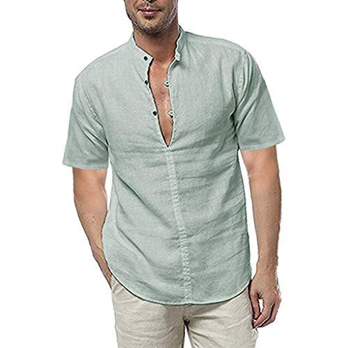 Herren Kurzarmhemd Sommer T-Shirt Casual Kurzarmhemd Weich Lose Top locker bedrucktes Hemdoberteil, Bluestercool Solide Shirts Beiläufige Kleid Soft Tops