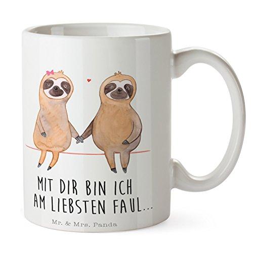Mr. & Mrs. Panda Kaffeebecher, Teetasse, Tasse Faultier Pärchen mit Spruch – Farbe Weiß