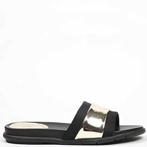 Ideal Shoes Nu-Pieds Noir avec Lanière Effet Métalisé Fannia Doree