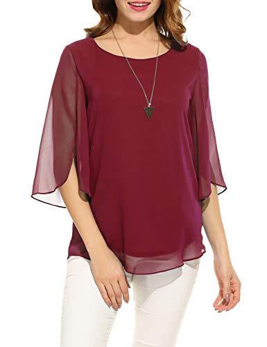 Bluse Rock Hose (Beyove Damen Shirts lose 3/4 Ärmel Bluse Hemd Chiffon Langarmshirts Oberteile Tops elegant (EU 38(Herstellergröße:M), Weinrot-neu))