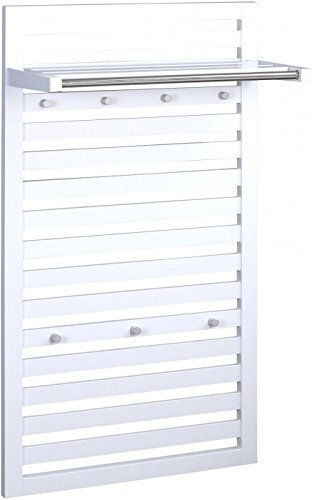 HomeTrends4You 876126 Wandgarderobe, 60 x 100 x 27 cm, weiß matt