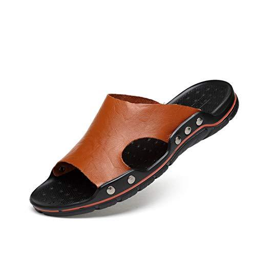 DAIDAITX Hausschuhe Männer Flip Flops Casual Men Sandalen Rivet Strand Sandalen Aus Echtem Rindsleder Faul Pedal -