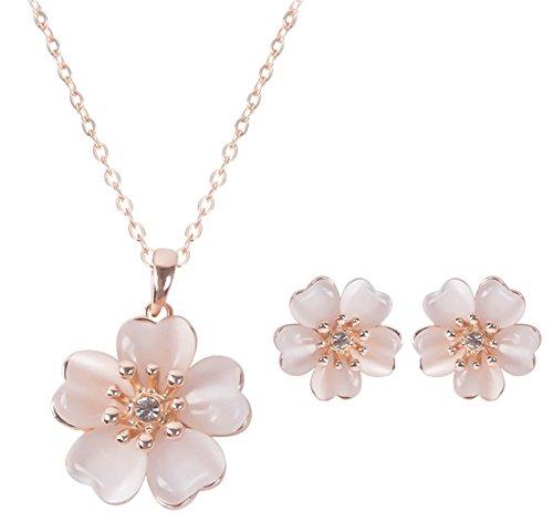 Liquidazione offerte, Fittingran Set con Collana e Orecchini Molto Elegante a Forma di Fiore con Cristalli e Brillanti Taglia Unica Fleur Rose (Fleur Rose)