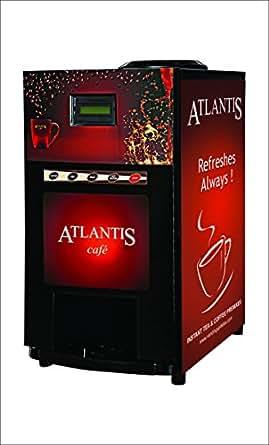 ATLANTIS Metal Mini 2 Lane Tea and Coffee Vending Machine (Black)