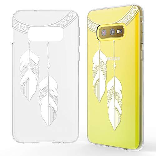 NALIA Hülle kompatibel mit Samsung Galaxy S10e, Motiv Handyhülle Slim Silikon Case Cover Schutzhülle Dünn Durchsichtig, Etui Handy-Tasche Backcover Transparent Bumper, Designs:Chain Feathers